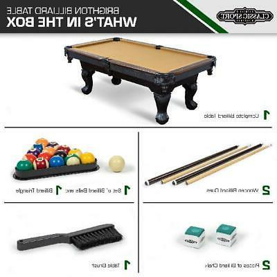 Billiard Table Cloth Cues Balls Chalk Triangle Brush