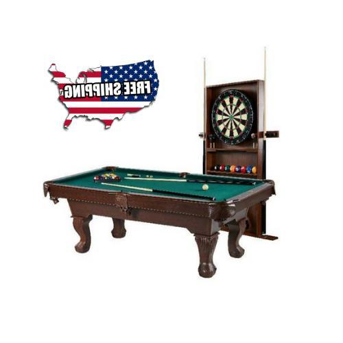billiard pool table w cue rack accessories