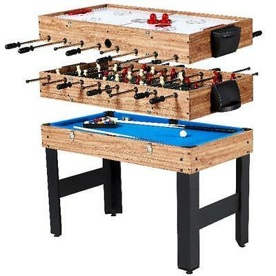 "48"" 3-In-1 Multi Combo Game Table Family Foosball Soccer Bil"