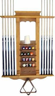 Cue Rack Only- 10 Pool - Billiard Stick & Ball Wall Rack Oak