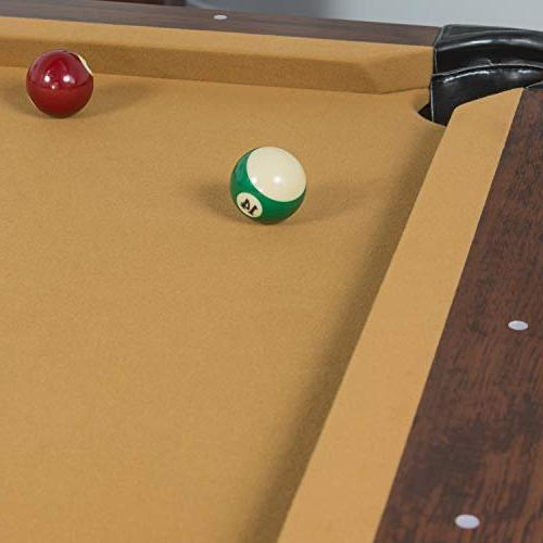 EastPoint Pool Table - Tan Felt Features Traditional Legs and Parlor Pockets Cues, Billiards and Triangle