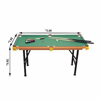 New 4.5ft Table Top Pool Game Billiard Balls Set cues