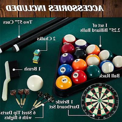 Pool Table Billiard and Dartboard Set