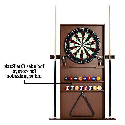 Billiard Table Cue Rack Dartboard Combo