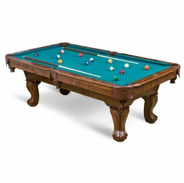 Pool Billiard Table Traditional Drop Pocket Dining Cue Rack Ball Leg