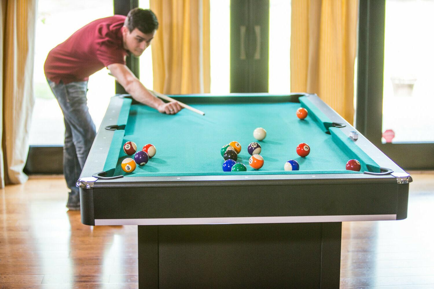 Pool Table Billiards With Tennis 2-in-one Conversion