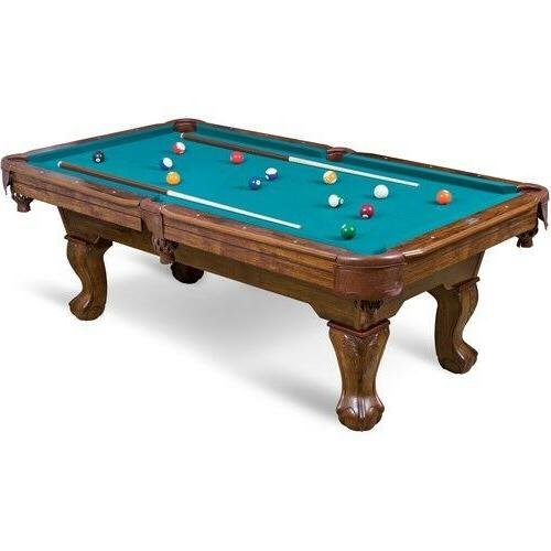 Pool Table - Green Cloth 87in. Claw Leg Table w Full Set of