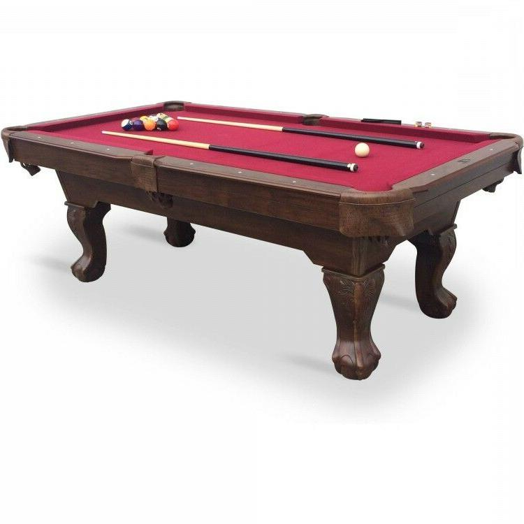 Pool Table - Red Cloth 87in. Claw Leg Table w Full Set of Bi