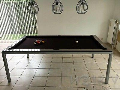 Metallic 8' Modern Pool Billiard 'Ultra'; dining/desk