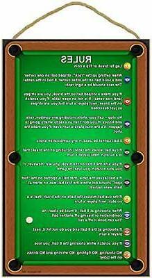"""SJT ENTERPRISES, Billiards/Pool Table Rules 16"""" Plaque"""