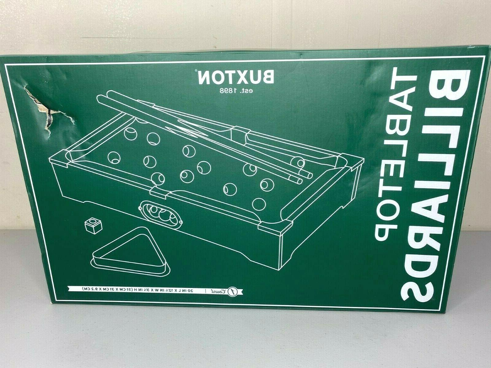 tabletop billiards pool table game includes balls