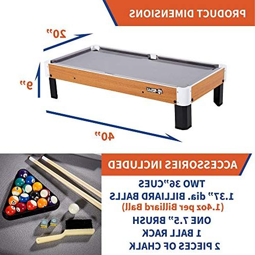 "Tabletop Pool and 20"" x Mini, Travel-Size Billiard Tables, Balls, Rack - Games Kids, Camping, Trips"