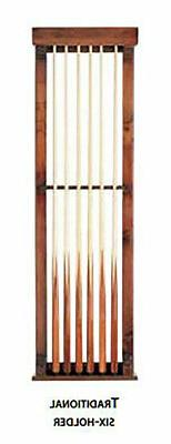 traditional pool stick wall mount 6 cue