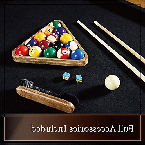Barrington Pool Table, Full Set with - Modern and Stylish Wooden Tables Balls, Cues, Billiards Game Complete