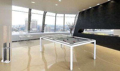 White 7' Modern Convertible Pool Billiard Table 'Ultra'; din