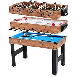 "Lancaster 48"" 3 in 1 Pool Billiard Slide Hockey Foosball Com"