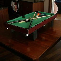 Sunnydaze 36-Inch Mini Tabletop Pool Table with Triangle, Ba