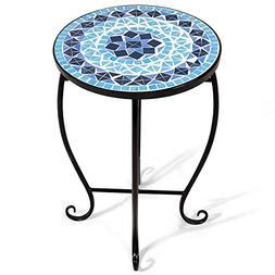 Giantex Mosaic Round Side Accent Table Patio Plant Stand Por
