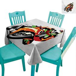 Motorcycle Easy Care Tablecloth Retro Art Motorcycle Racer w