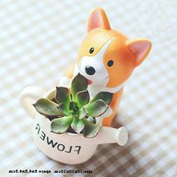MSOO Lovely Corgi Dog Shaped Plant Decor Succulent Plants De