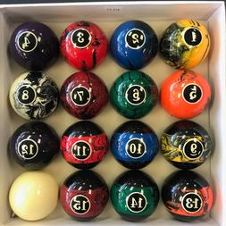 "NEW - BLACK Swirl Pool Table / Billiard Ball Set - 2 1/4""  R"