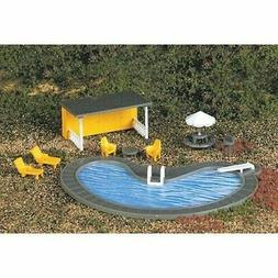 New HO Scale Swimming Pool with Chairs, Shelter Tables & Acc
