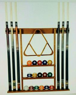 Oak Pool Cue Rack Billiard Supply Ball Stick Storage Holder
