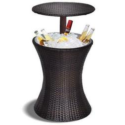 Patio Rattan Ice Cooler Cool Bar Table Party Deck Pool Adjus
