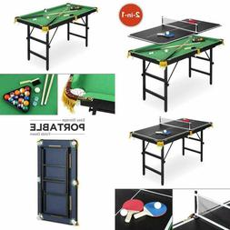 Ping Pong Combination Pool Billiards 4ft Arcade Game Table S