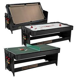 Fat Cat Pockey 7ft Black 3-in-1 Air Hockey, Billiards with T