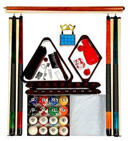 Pool Table Accessory Kit W Classic Style Marble Balls Mahoga