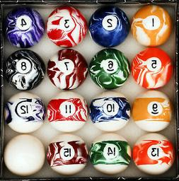 Pool Table Billiard Ball Set, Marble/Swirl Style