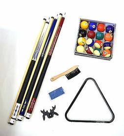 Pool Table - Billiard Accessory Kit - Cues Ball Triangle Rac