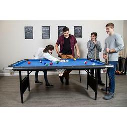 Portable Pool Table, 6-Ft, Blue/Black Rec Center Billiards B