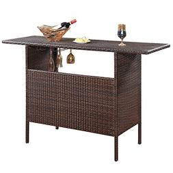 Giantex Outdoor Patio Rattan Wicker Bar Counter Table with 2