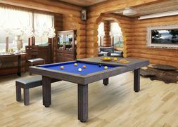 RUSTIC CONVERTIBLE POOL TABLE Billiard/Dining/Desk Vision 8'