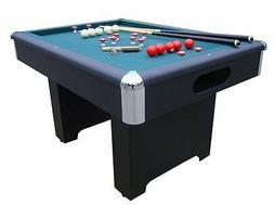 SLATE RECTANGULAR BUMPER POOL GAME TABLE in BLACK w/CUE STIC