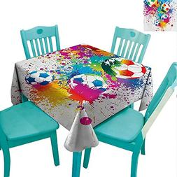 Soccer Washable Table Cloth Colored Splashes All over Soccer