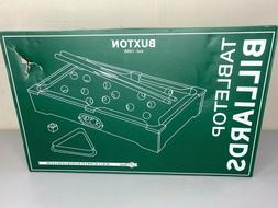 Buxton Tabletop Billiards Pool Table Game Includes Balls Sti