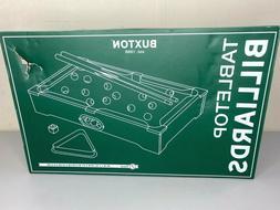 Buxton Tabletop Billiards Pool Table Game Includes Balls Sti