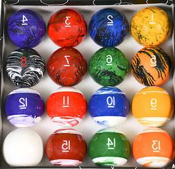 Tech Marble Style Pool Table Billiard Ball Set Reg Size 2 1/