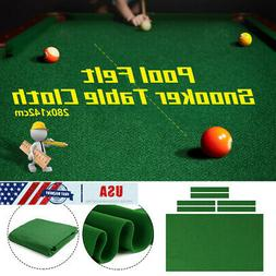 US Green Pool Table Cloth Felt W/ 6x Strips For 9FT Snooker