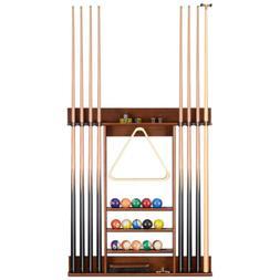 Wood Pool Table Billiard Stick Wall Rack 8 Cue Ball Wall Mou