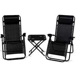 Giantex 3 PCS Zero Gravity Chair Patio Chaise Lounge Chairs